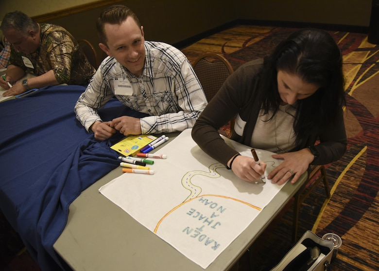 Master Sgt. Mathieson Smith, 114th Maintenance Squadron quality assurance inspector, participates in Battle Flag resiliency training as part of pre-deployment preparations at the Ramkota Hotel in Sioux Falls, S.D., Feb. 4, 2017. More than 120 members from the 114th Fighter Wing attended Yellow Ribbon Reintegration Program events which promote the well-being of National Guard and Reserve members, their families and communities by connecting them with local resources during the deployment cycle.(U.S. Air National Guard photo by Staff Sgt. Duane Duimstra/Released)