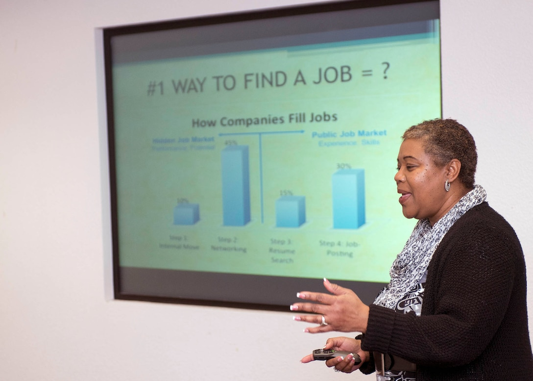 Maria McIntosh, 60th Force Support Squadron community readiness counselor, informs service members and their spouses on the latest techniques used to find employment and career opportunities during a class at the Airman and Family Readiness Center at Travis Air Force Base, Calif, Feb. 7, 2017. The A&FRC offers a variety of courses for military members and their families. (US Air Force  photo/T.C. Perkins Jr.)