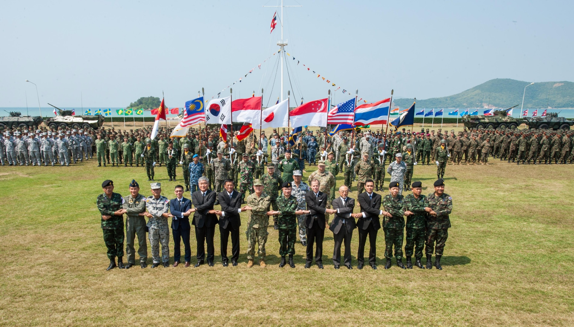Multi-National Forces officials and representatives pose for a group photo during the official opening ceremony of Cobra Gold 2017, Feb. 14, 2017. Cobra Gold, in its 36th iteration, is the largest Theater Security Cooperation exercise in the Indo-Asia-Pacific. This year's focus is to advance regional security and ensure effective responses to regional crises by bringing together a robust multinational force to address shared goals and security commitments in the Indo-Asia-Pacific region.