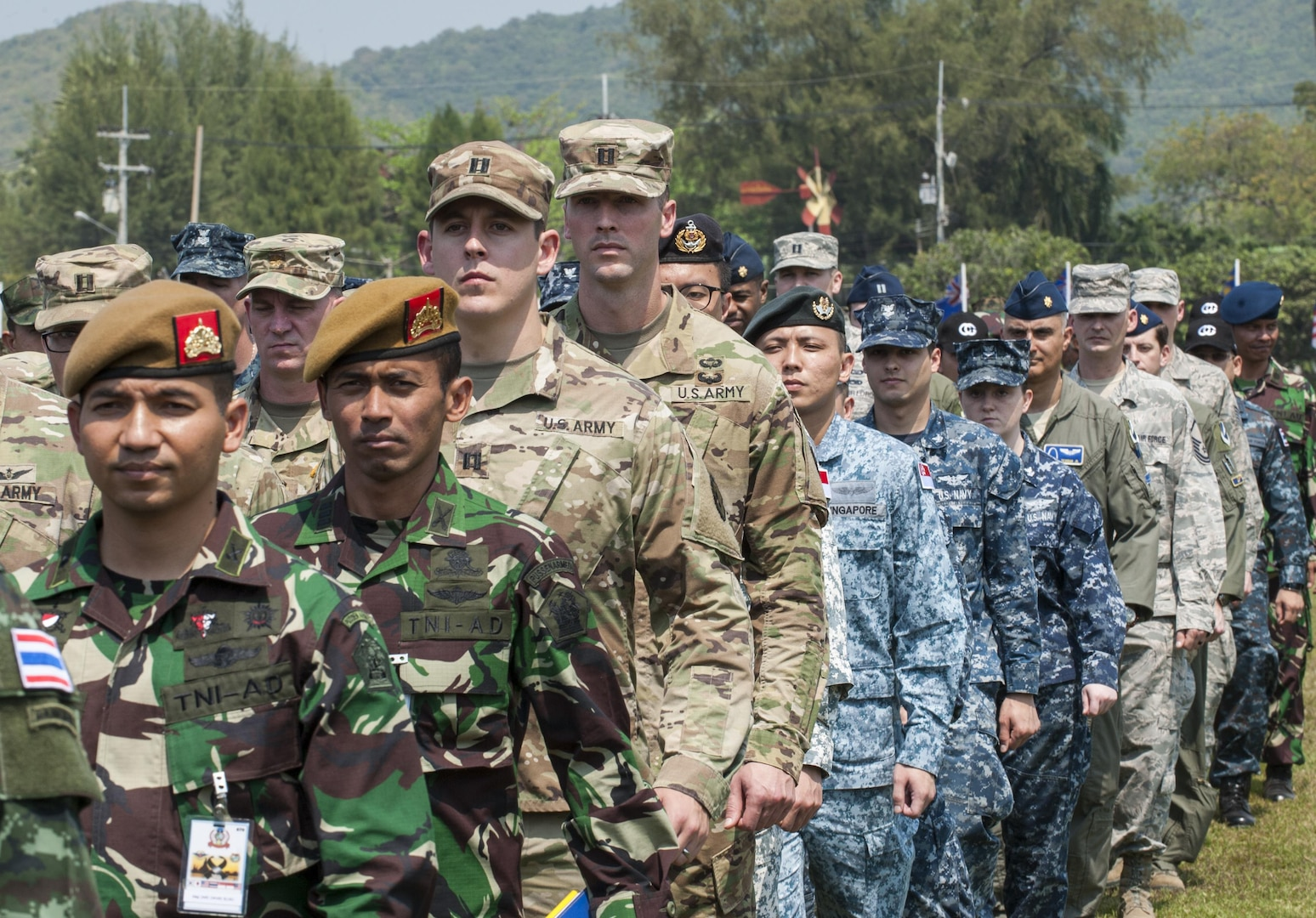 Multi-National Forces march in formation after the conclusion of the official opening ceremony of Cobra Gold 2017. Cobra Gold, in its 36th iteration, is the largest Theater Security Cooperation exercise in the Indo-Asia-Pacific. This year's focus is to advance regional security and ensure effective responses to regional crises by bringing together a robust multinational force to address shared goals and security commitments in the Indo-Asia-Pacific region.
