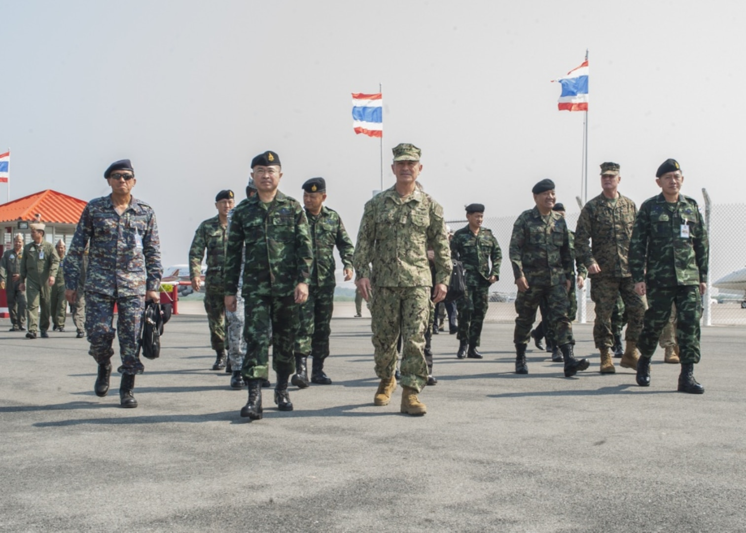 Thai Chief of Defence Forces Gen. Surapong Suwana-adth and U.S. Pacific Command Commander, Adm. Harry Harris, arrived at the Utapao Royal Thai Naval Air Division air field for the official opening ceremony of Cobra Gold, Feb. 14,  2017. Cobra Gold, in its 36th iteration, is the largest Theater Security Cooperation exercise in the Indo-Asia-Pacific. This year's focus is to advance regional security and ensure effective responses to regional crises by bringing together a robust multinational force to address shared goals and security commitments in the Indo-Asia-Pacific region.