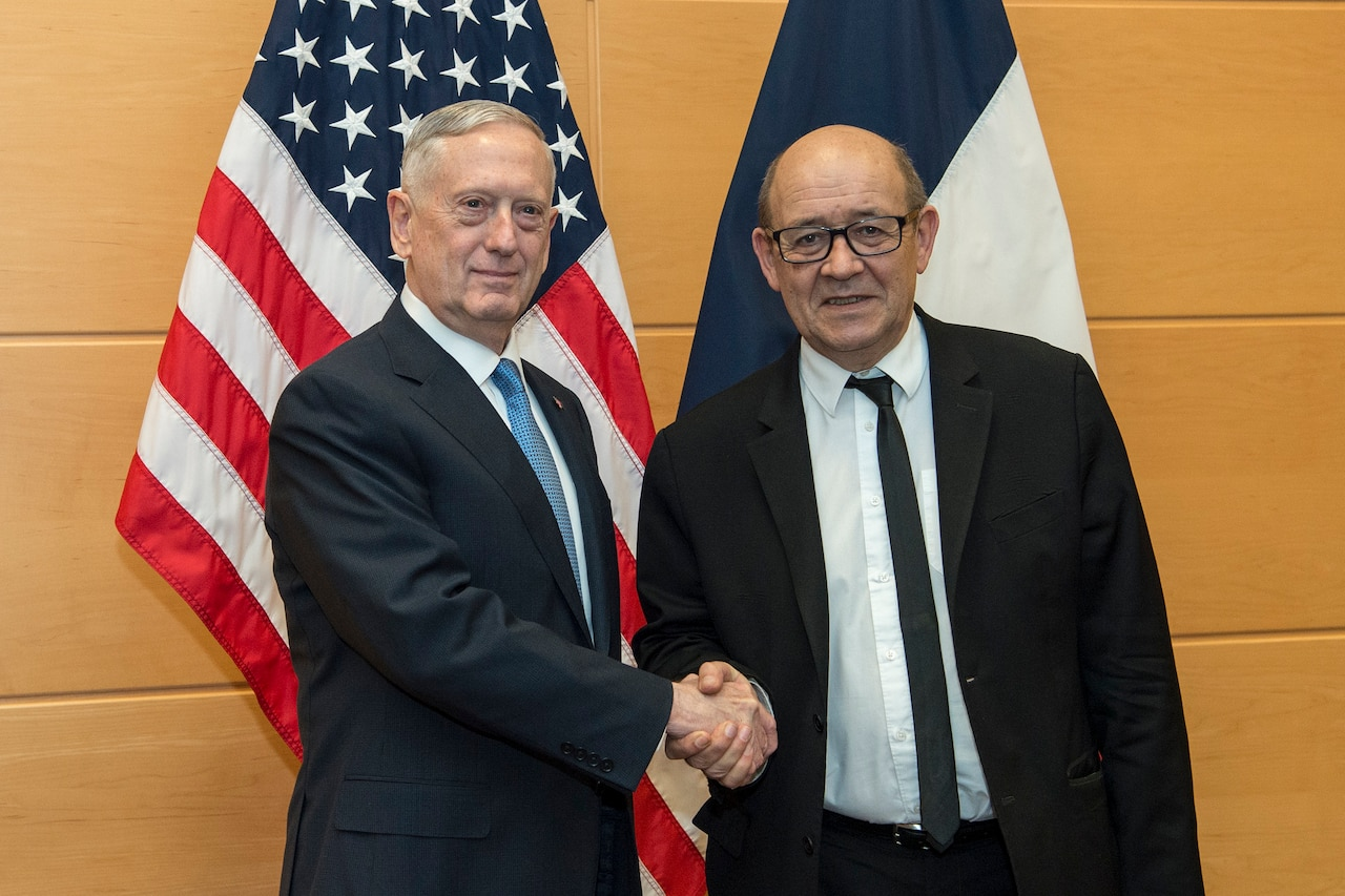 Defense Secretary Jim Mattis, left, meets with French Defense Minister Jean-Yves Le Drian at NATO headquarters in Brussels, Feb. 15, 2017. DoD photo by Air Force Tech. Sgt. Brigitte N. Brantley
