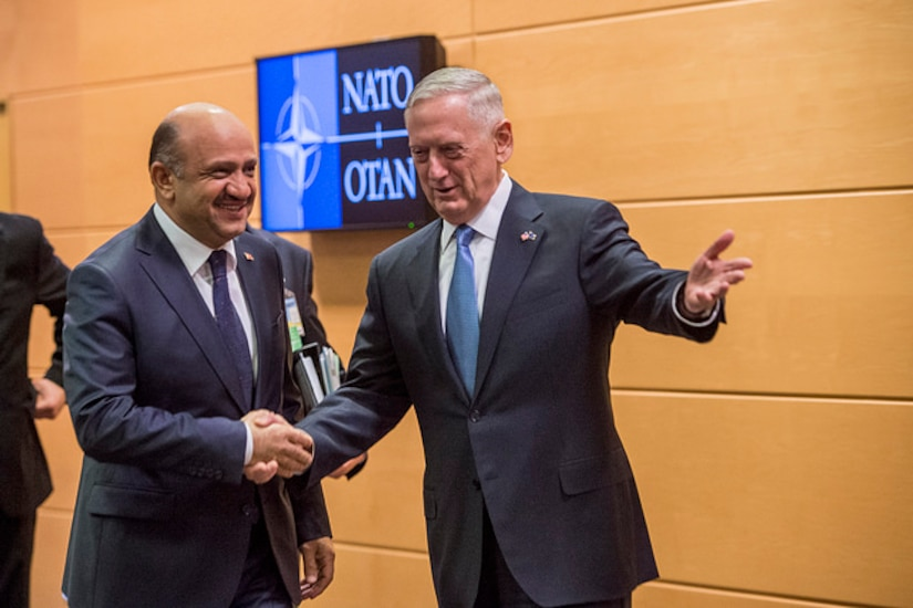 Defense Secretary Jim Mattis meets with Turkish Defense Minister Fikri Isik at NATO headquarters in Brussels, Belgium, Feb. 15, 2017. DoD photo by Air Force Tech. Sgt. Brigitte N. Brantley