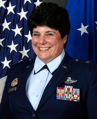 Janet Therianos, a 1980 graduate of the U.S. Air Force Academy, was the first woman to graduate the Academy and be selected for promotion to the flag officer ranks. (U.S. Air Force photo)