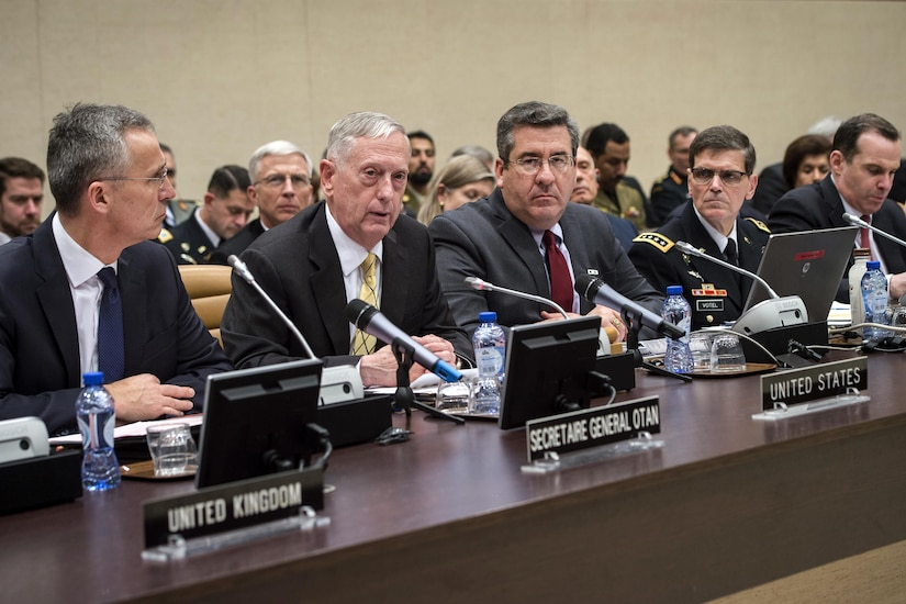 Defense Secretary Jim Mattis, center left, speaks during a Global Coalition to Counter ISIS meeting at NATO headquarters in Brussels, Feb. 16, 2017. DoD photo by Air Force Tech. Sgt. Brigitte N. Brantley
