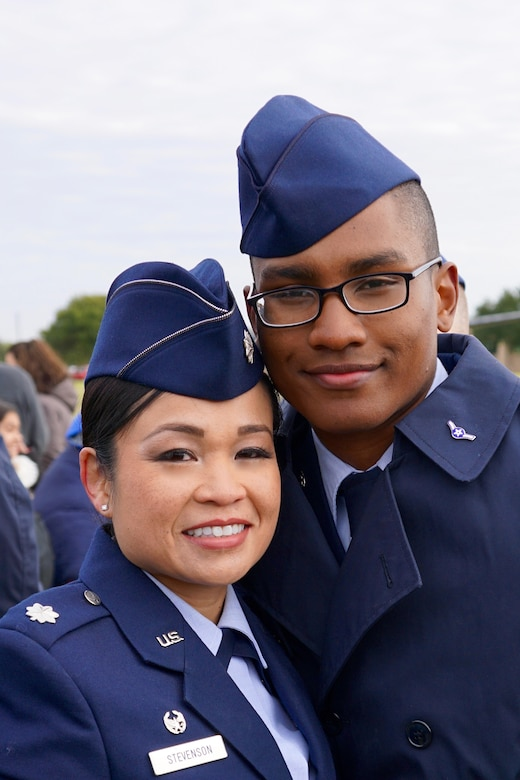Lt. Col. Bonnie Stevenson, 49th Medical Operations Squadron commander, poses with her son, Airman Darrius Stevenson. Airman Stevenson graduated from Air Force Basic Military Training at Lackland Air Force Base on Dec. 9, 2016. Airman Stevenson is currently receiving his Cyber Space Operation training at Keesler Air Force Base. (Photo courtesy of Lt. Col. Bonnie Stevenson)