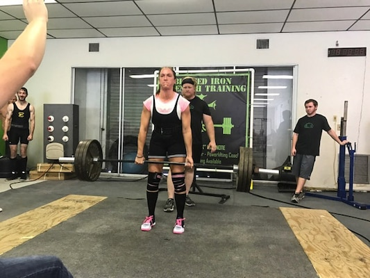 U.S. Army Sergeant First Class (SFC) Jennifer Palacios performs a deadlift during in the American Powerlifting Association (APA) Thunder Bay Throwdown. Palacios broke the Florida state deadlift record in the Raw Sub Master (33-39) age division by lifting 340lbs. (Courtesy photo)