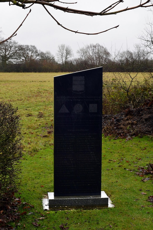 A 55th Fighter Group memorial is located in the village of Nuthampstead, England, which was the host village to the fighter group during World War II.  The 55th fighter pilots took off in their P-38 Lightnings and P-51 Mustangs on bomber escort missions over the European peninsula. (U.S. Air Force photo by Josh Plueger)