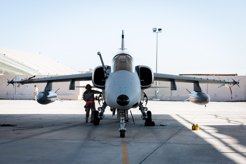 "U.S. Air Force Lt. Col. Joe ""Slap"" Goldsworthy, an Airman assigned to the Italian air force 132nd Groupo as part of the Military Personnel Exchange Program, prepares to taxi in an AMX A-11 Ghibli at an undisclosed location in Southwest Asia, Jan. 11, 2017. The Italian unit provides ""tac recce"" support using Rafael Reccelite tactical reconnaissance pods to provide precise, high-definition imagery to coalition leaders. (U.S. Air Force photo by Staff Sgt. R. Alex Durbin)"