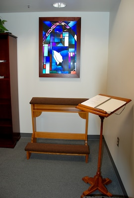 A water fountain, scenic wall mural and guest book where employees can record prayer requests are among the updates in the McNamara Headquarters Complex's meditation and prayer room.
