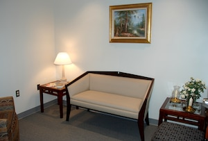 The McNamara Headquarters Complex's prayer and meditation room features a private room for pastoral counseling and reading.