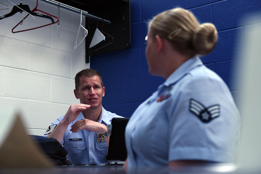 Tech. Sgt. James Madnick, an Air Force active duty enlisted professional military education instructor assigned to the Chief Master Sergeant Paul H. Lankford EPME Center, instructs Airman leadership school in Tennessee. Madnick and other instructors do their best to prepare incoming students as well as provide them methods for successful learning. (U.S. Air National Guard photo by Master Sgt. Mike R. Smith)