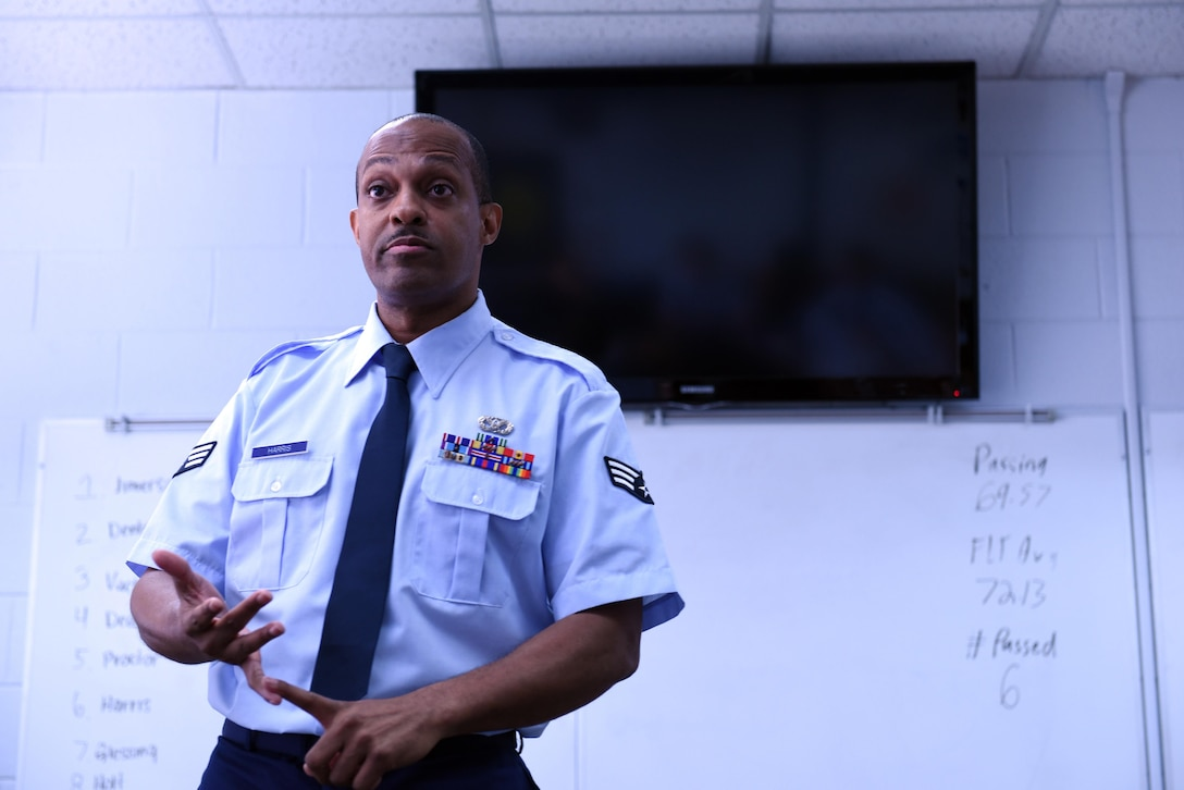 A Senior Airman gives a briefing to his flight as part of his Airman leadership school coursework at the Chief Master Sergeant Paul H. Lankford Enlisted Professional Military Education Center in Tennessee. Instructors advise students to prepare their mindset for the school's learning demands. (U.S. Air National Guard photo by Master Sgt. Mike R. Smith)