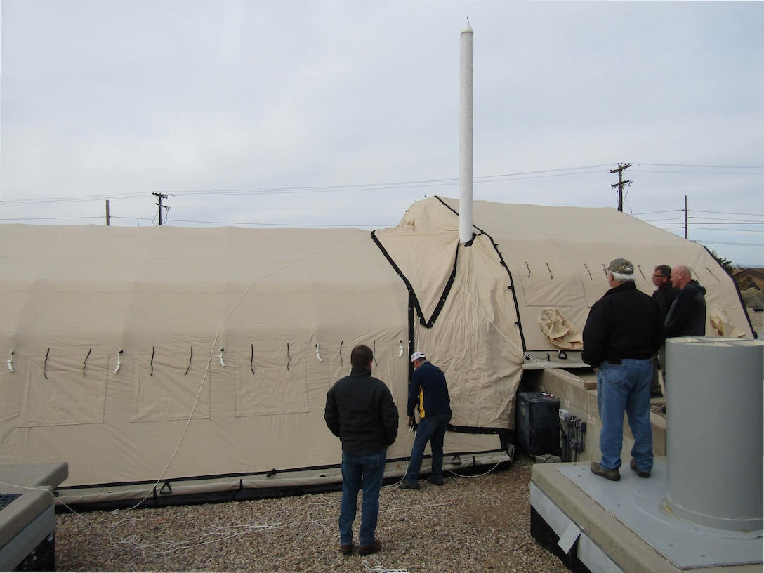 Inflatable shelter covering Launch Facility during proof of concept demonstration at Space & Missile Integration Complex facility located at Hill Air Force Base, Utah, Nov. 17, 2016. (U.S. Air Force photo)