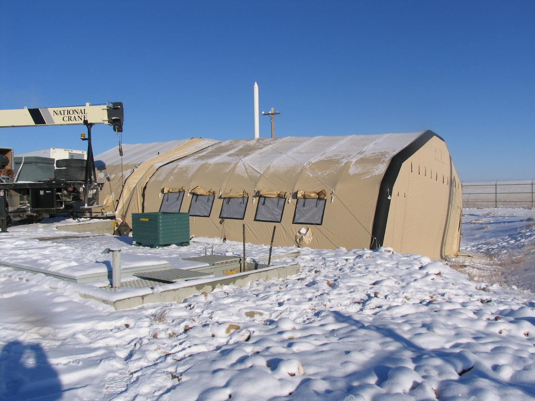 An inflatable shelter covers Launch Facility K-02 during Program Depot Maintenance at Malmstrom AFB, Montana, Feb. 8, 2017. (U.S Air Force photo)