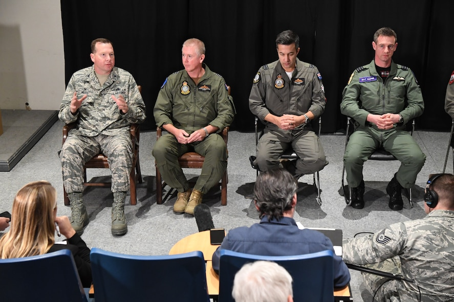 Col. Michael Miles, 388th Maintenance Group commander, Hill Air Force Base, Utah, answers questions Feb. 2, 2017, during a Red Flag 17-1 press conference at Nellis Air Force Base, Nevada. (U.S. Air Force photo by R. Nial Bradshaw)