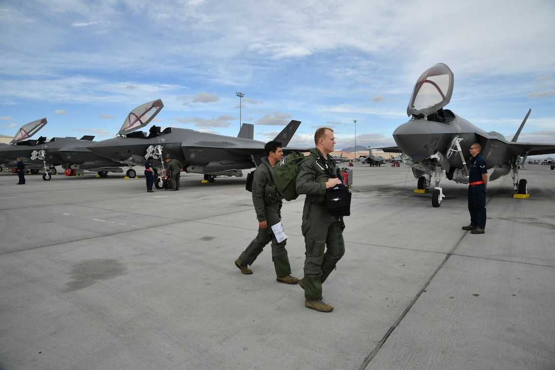 F-35A aircraft pilots and crew chiefs from Hill Air Force Base, Utah, prepare for flight Feb. 7 during Red Flag 17-1 at Nellis Air Force Base, Nevada. (U.S. Air Force photo by R. Nial Bradshaw)