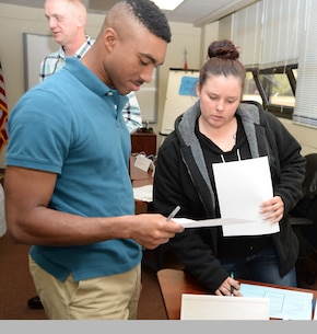 Transitioning service members participate in one of several activities during a five-day Transition Readiness Seminar at Marine Corps Logistics Base Albany, recently. The training is a monthly activity designed to assist military families to adjust to civilian careers, explore eligible benefits and other options after leaving active-duty service.