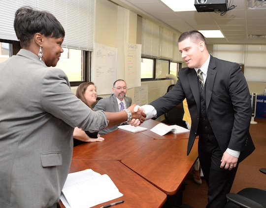 A professional interview panel quizzes transitioning service members in mock job-readiness interviews, during a five-day Transition Readiness Seminar at Marine Corps Logistics Base Albany, recently. The training is a monthly activity designed to assist military families to adjust to civilian careers, explore eligible benefits and other options after leaving active-duty service.