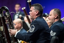 Master Sgt. Alejandro Vieira plays a contrabassoon during a U.S Air Force Academy Band performance Feb. 13 at Weber State University's Austad Auditorium, Ogden, Utah.  (U.S. Air Force photo)