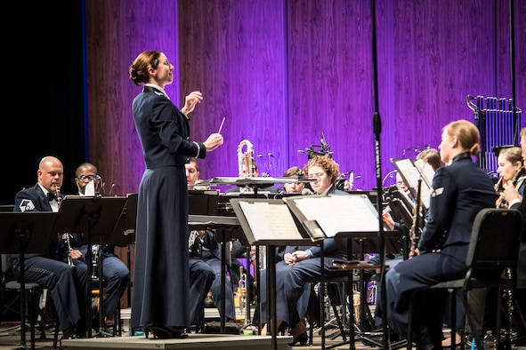 Capt. Shanti Simon conducts the U.S Air Force Academy Band during a performance Feb. 13 at Weber State University's Austad Auditorium, Ogden, Utah. (U.S. Air Force photo)