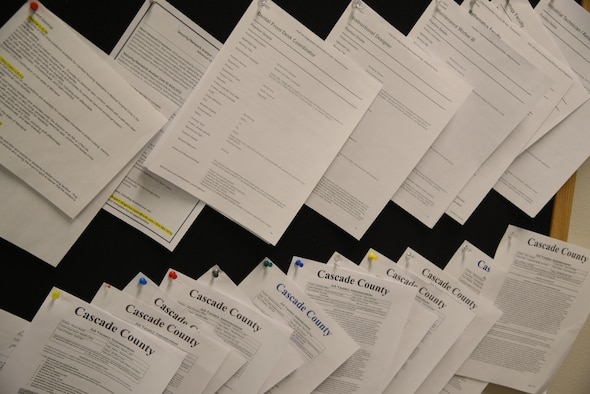 Details for open job positions hang from an employment board, Feb. 14, 2017, at Malmstrom Air Force Base, Mont. The employment board is located in the education building and is updated as job openings are received. (U.S. Air Force photo/ Staff Sgt. Delia Marchick)