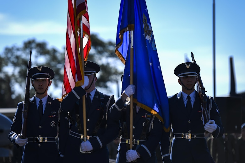 Members of the Hurlburt Field Honor Guard present the colors during the Ratchet 33 Memorial Ceremony at the air park, Hurlburt Field, Fla., Feb. 16, 2017. During the ceremony, the commanders of the 25th Intelligence Squadron, 34th Special Operations Squadron and the acting commander of the 319th SOS unveiled the Ratchet 33 aircrew memorial plaque. The aircrew was comprised of Capt. Ryan Hall, Capt. Nicholas Whitlock, 1st Lt. Justin Wilkens and Senior Airman Julian Scholten. (U.S. Air Force photo by Airman 1st Class Joseph Pick)