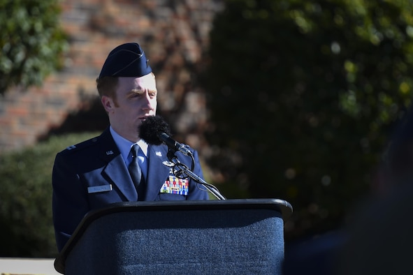 Capt. Sean Sullivan, a flight commander with the 25th Intelligence Squadron, speaks during the Ratchet 33 Memorial Ceremony at the air park, Hurlburt Field, Fla., Feb. 16, 2017. Ratchet 33 was a U-28A intelligence, surveillance, reconnaissance aircraft crewed by four Air Commandos that crashed in Djibouti, Africa, Feb. 18, 2012. The aircrew was comprised of Capt. Ryan Hall, Capt. Nicholas Whitlock, 1st Lt. Justin Wilkens and Senior Airman Julian Scholten. (U.S. Air Force photo by Airman 1st Class Joseph Pick)