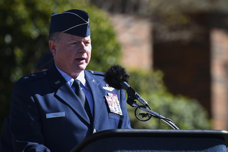 Maj. Gen. Eugene Haase, the vice commander of Air Force Special Operations Command, speaks during the Ratchet 33 Memorial Ceremony at the air park, Hurlburt Field, Fla., Feb. 16, 2017. Ratchet 33 was a U-28A intelligence, surveillance, reconnaissance aircraft crewed by four Air Commandos that crashed in Djibouti, Africa, Feb. 18, 2012. The aircrew was comprised of Capt. Ryan Hall, Capt. Nicholas Whitlock, 1st Lt. Justin Wilkens and Senior Airman Julian Scholten. (U.S. Air Force photo by Airman 1st Class Joseph Pick)