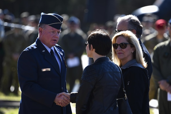 Maj. Gen. Eugene Haase, the vice commander of Air Force Special Operations Command, greets family members of the Ratchet 33 aircrew during a memorial ceremony at the air park, Hurlburt Field, Fla., Feb. 16, 2017. Ratchet 33 was a U-28A intelligence, surveillance, reconnaissance aircraft crewed by four Air Commandos that crashed in Djibouti, Africa, Feb. 18, 2012. The aircrew was comprised of Capt. Ryan Hall, Capt. Nicholas Whitlock, 1st Lt. Justin Wilkens and Senior Airman Julian Scholten. (U.S. Air Force photo by Airman 1st Class Joseph Pick)