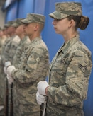 U.S. Air Force Honor Guardsmen stand ready to start the Chief Master Sergeant of the Air Force Transition Ceremony rehearsal at Joint Base Andrews, Md., Feb. 16, 2017. During the event, Chief Master Sergeant of the Air Force James A. Cody, is scheduled to retire and the 18th Chief Master Sergeant of the Air Force Kaleth O. Wright is planned to be appointed. (U.S. Air Force photo by Airman 1st Class Valentina Lopez)