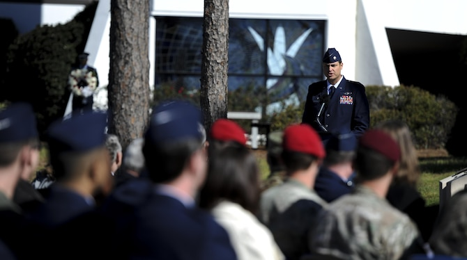 Lt. Col. Erick Turasz, the commander of the 34th Special Operations Squadron, spoke during a memorial ceremony at the air park, Hurlburt Field, Fla., Feb. 16, 2017. Ratchet 33 was a U-28A intelligence, surveillance, reconaissance aircraft crewed by four Air Commandos that crashed in Djibouti, Africa, Feb. 18, 2012. The aircrew was comprised of Capt. Ryan Hall, Capt. Nicholas Whitlock, 1st Lt. Justin Wilkens and Senior Airman Julian Scholten. (U.S. Air Force photo by Airman 1st Class Dennis Spain)