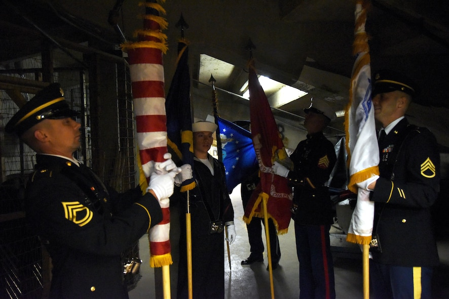 The Goodfellow Air Force Base Joint-Service Color Guard prepare to present the colors during the 85th Annual San Angelo Stock Show and Rodeo Military Appreciation Night at the Foster Communications Coliseum in San Angelo, Texas, Feb. 15, 2017. Goodfellow volunteers supported the rodeo by setting up pens, singing the national anthem and presenting the colors. (U.S. Air Force photo by Staff Sgt. Joshua Edwards/Released)
