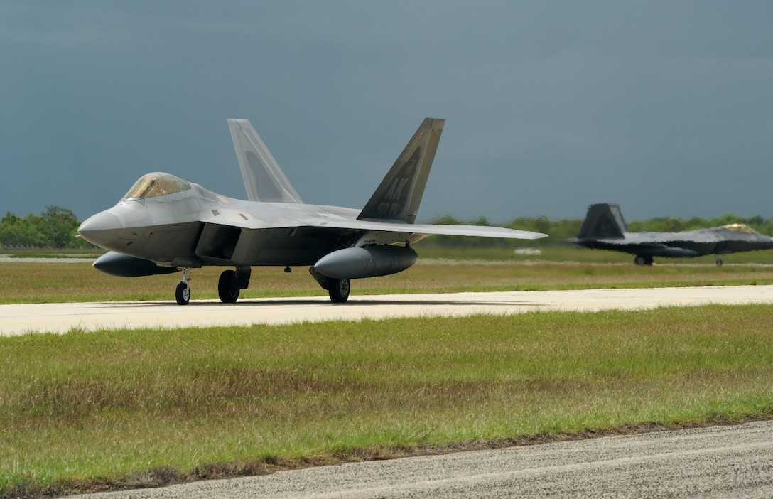 A U.S. Air Force F-22 Raptor assigned to the 90th Fighter Squadron, Joint Base Elmendorf-Richardson, Alaska, taxies on the runway at Royal Australian Air Force (RAAF) Base Tindal, Feb. 13, 2017. Twelve F-22 Raptors and approximately 200 Airmen are at RAAF Base Tindal as part of the Enhanced Air Cooperation (EAC) Initiative under the Force Posture Agreement between the U.S. and Australia. EAC creates the foundation for an enhanced rotational presence of U.S. military personnel in Australia to promote interoperability, build upon our already strong alliance, and reaffirm our commitment to the Indo-Asia-Pacific region. (U.S. Air Force photo/Staff Sgt. Alexander Martinez)