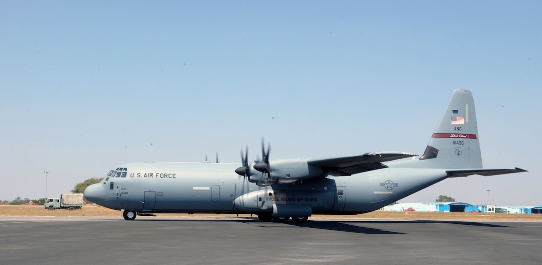 A U.S. Air Force C-130J Super Hercules assigned to the 143rd Airlift Wing, Rhode Island Air National Guard, taxies to its parking location following a joint U.S. and India Special Forces combined free-fall jump during Aero India 2017 at Air Force Station Yelahanka, Bengaluru, India, Feb. 15, 2017. The jump was one of the highlights of the tradeshow that demonstrates the U.S. commitment to the security of the Indo-Asia-Pacific region, promotes the standardization and interoperability of equipment, and display capabilities critical to the success of current and future military operations. (U.S. Air Force photo by Capt. Mark Lazane)