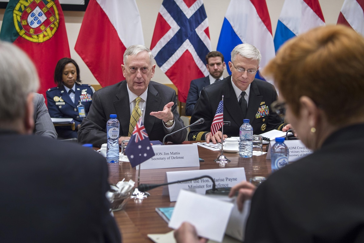 Defense Secretary James N. Mattis gestures as he meets with the Australian defense minister.