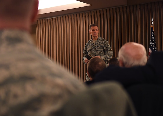 Maj. Gen. Dondi E. Costin, U.S. Air Force Chief of Chaplains, speaks at the National Prayer breakfast Feb. 16, 2017, on Grand Forks Air Force Base, North Dakota. Costin spent two days in North Dakota speaking with Airmen from Grand Forks AFB and Cavalier Air Force Station about spiritual fitness. (U.S. Air Force photo by Senior Airman Ryan Sparks)