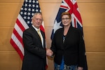 Defense Secretary Jim Mattis meets with Australian Defense Minister Marise Payne ahead of a bilateral meeting on the sidelines of a defense ministerial at NATO headquarters in Brussels, Feb. 16, 2017. DoD photo by Air Force Tech. Sgt. Brigitte N. Brantley
