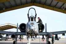 U.S. Air Force Lt. Col. Ryan Hodges, an A-10 Thunderbolt II pilot assigned to the 303rd Fighter Squadron, climbs into his aircraft during a local flying mission at Whiteman Air Force Base, Mo., Feb. 14, 2017. The A-10 Thunderbolt II has excellent maneuverability at low air speeds and altitude, and is a highly accurate and survivable weapons-delivery platform. The aircraft can loiter near battle areas for extended periods of time and operate in low ceiling and visibility conditions.