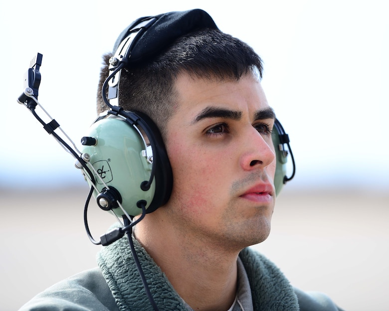 U.S. Air Force Senior Airman Alonso Gudino, a crew chief assigned to the 358th Fighter Squadron, awaits pilot's signals to taxi out of the parkway during pre-flight checks at Whiteman Air Force Base, Mo., Feb. 14, 2017. The Thunderbolt II can be serviced and operated from austere bases with limited facilities near battle areas. Many of the aircraft's parts are interchangeable left and right, including the engines, main landing gear and vertical stabilizers. Avionics equipment includes multi-band communications; global positioning system and inertial navigations systems; infrared and electronic countermeasures against air-to-air and air-to-surface threats. Also, it has a heads-up display to display flight and weapons delivery information.