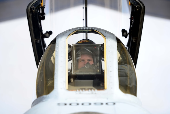 U.S. Air Force Major Rox Kirkendall, an A-10 Thunderbolt II pilot assigned to the 303rd Fighter Squadron, sits in the cockpit prior to a local flying mission at Whiteman Air Force Base, Mo., Feb. 14, 2017. The A-10 Thunderbolt II is the first Air Force aircraft specially designed for close air support of ground forces. They are simple, effective and survivable twin-engine jet aircraft that can be used against all ground targets, including tanks and other armored vehicles.