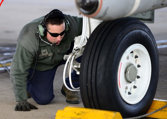U.S. Air Force Staff Sgt. Terry Reece, a crew chief assigned to the 358th Fighter Squadron, visually inspects tires during pre-flight checks prior to a local training mission at Whiteman Air Force Base, Mo., Feb. 14, 2017. The A-10 Thunderbolt II has excellent maneuverability at low air speeds and altitude, and is a highly accurate and survivable weapons-delivery platform. The aircraft can loiter near battle areas for extended periods of time and operate in low ceiling and visibility conditions. The wide combat radius and short takeoff and landing capability permit operations in and out of locations near front lines. Using night vision goggles, A-10 pilots can conduct their missions during darkness.