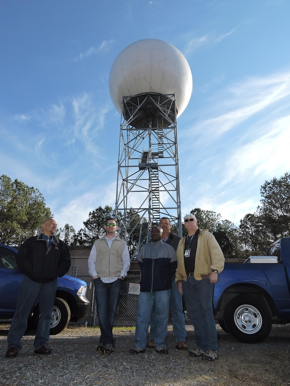 The 78th Operations Support Squadron, Air Traffic Control and Landing Systems (ATCALS) maintenance team (L-R, George Pacheco, Brian Lambert, Michael Jordan, Sam Pursley and Dennis Robbins) made emergency repairs to the Doppler radar during the Jan. 21 – 22 severe storms that came through Middle Georgia. Their work enabled the radar to track and provide early warnings to alert residents to take cover. 
