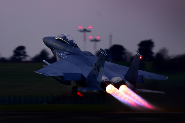 A 492nd Fighter Squadron's F-15E Strike Eagle takes off from Royal Air Force Lakenheath, England, Feb. 15, 2017. The 492nd FS trains regularly to ensure RAF Lakenheath brings unique air combat capabilities to the fight. (U.S. Air Force photo/Tech. Sgt. Matthew Plew)
