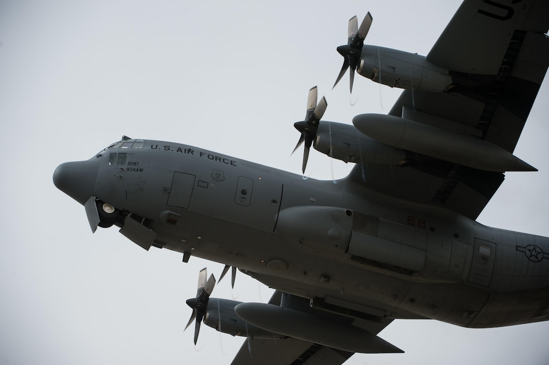 A C-130 Hercules departs from the 380th Air Expeditionary Wing at an undisclosed location in Southwest Asia, Feb. 14, 2017. C-130s are capable of operating on dirt strips and are the prime transport for airdropping troops and equipment into hostile areas. (U.S. Air Force photo/Senior Airman Tyler Woodward)