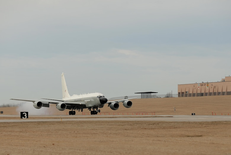 A Royal Air Force RC-135 Airseeker lands at Offutt Air Force Base, Neb. Feb. 11 to receive maintenance assistance from the 55th Maintenance Group. The aircraft diverted from Nellis Air Force Base, Nev. following landing gear problems experienced while participating in a joint exercise. (U.S. Air Force photo by Delanie Stafford)