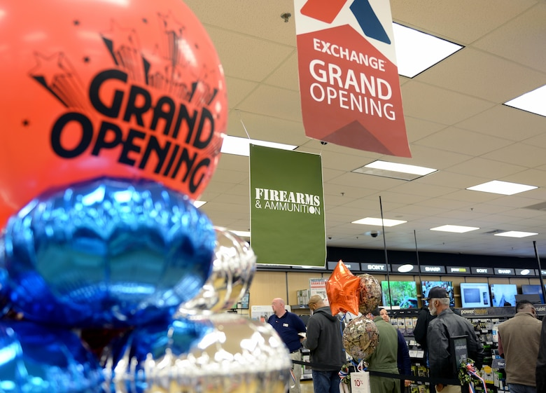 The Maxwell Base Exchange celebrates their grand opening of the firearms counter, Friday, Feb. 17, 2017. During the ceremony, cake and refreshments were provided and participants could enter a raffle for a chance to win a free firearm. (U.S. Air Force photo/Senior Airman Tammie Ramsouer)