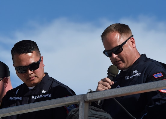 Senior Master Sgt. Sam Smith, 61st Fighter Squadron, F-35 flight heritage superintendent, narrates during the Heritage Flight Training and Certification Course Feb. 11, 2017, at Davis-Monthan Air Force Base, Ariz. Heritage and demonstration teams need to be certified annually to participate in open houses and air shows worldwide. (U.S. Air Force photo by Senior Airman James Hensley)