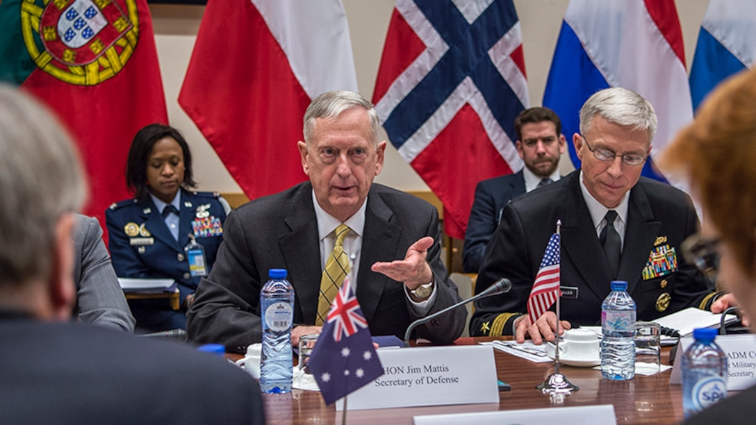 Defense Secretary Jim Mattis meets with Australian Defense Minister Marise Payne at NATO headquarters