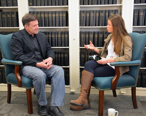 ST. PAUL, Minn. – Kenton Spading, left, and Vanessa Hamer talk during the creation of the St. Paul District's first REDChampions interview at the St. Paul District, Feb. 17.